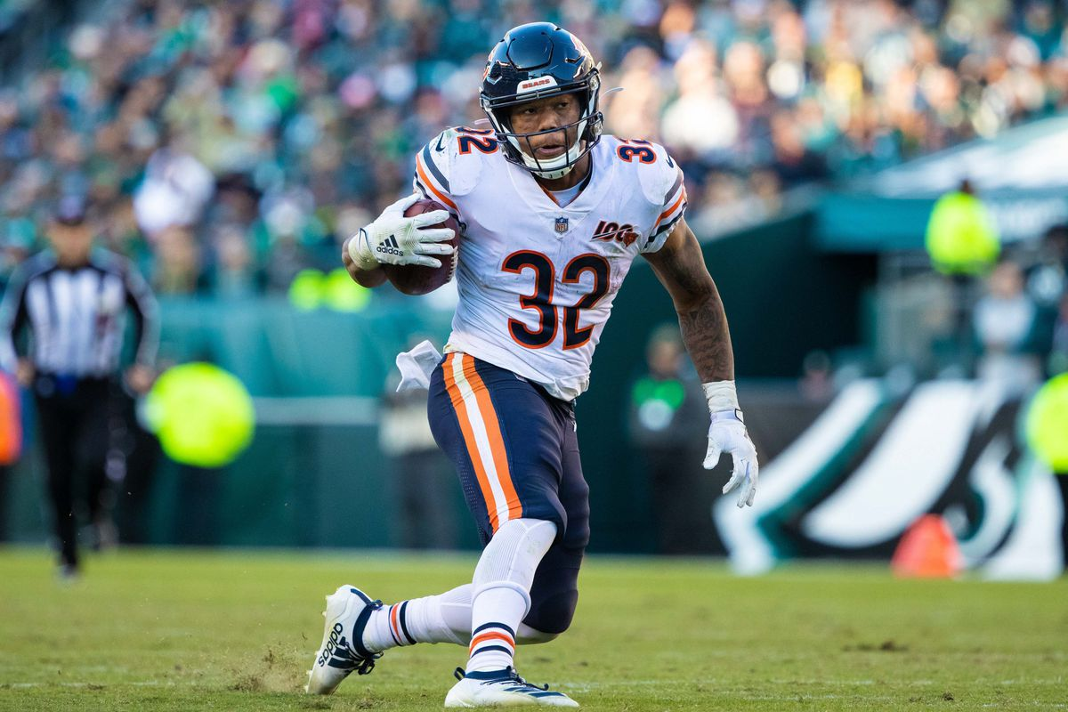 Chicago Bears running back David Montgomery in action against the Philadelphia Eagles at Lincoln Financial Field.
