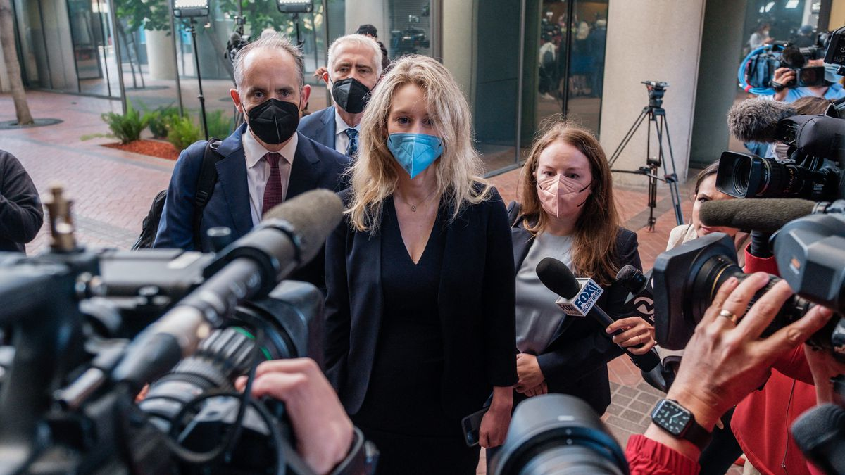 Elizabeth Holmes addresses the media outside of a federal courthouse in San Jose, California.