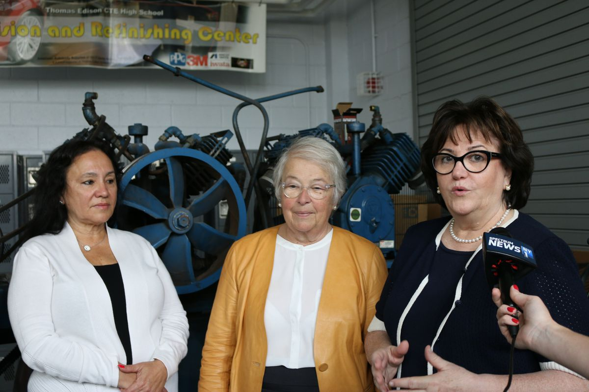 Board of Regents Chancellor Betty Rosa, New York City Schools Chancellor Carmen Fariña and State Education Commissioner MaryEllen Elia at Thomas A. Edison Career and Technical Education High School