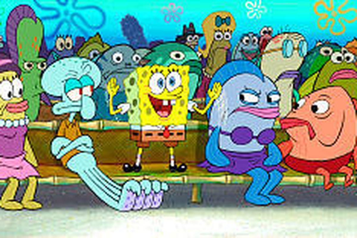 """SpongeBob (center) stars in """"The SpongeBob SquarePants Movie."""""""