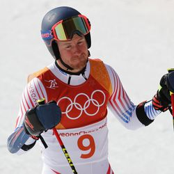 The United States' Ted Ligety gestures after the second run of the men's giant slalom at the 2018 Winter Olympics in Pyeongchang, South Korea, Sunday, Feb. 18, 2018.