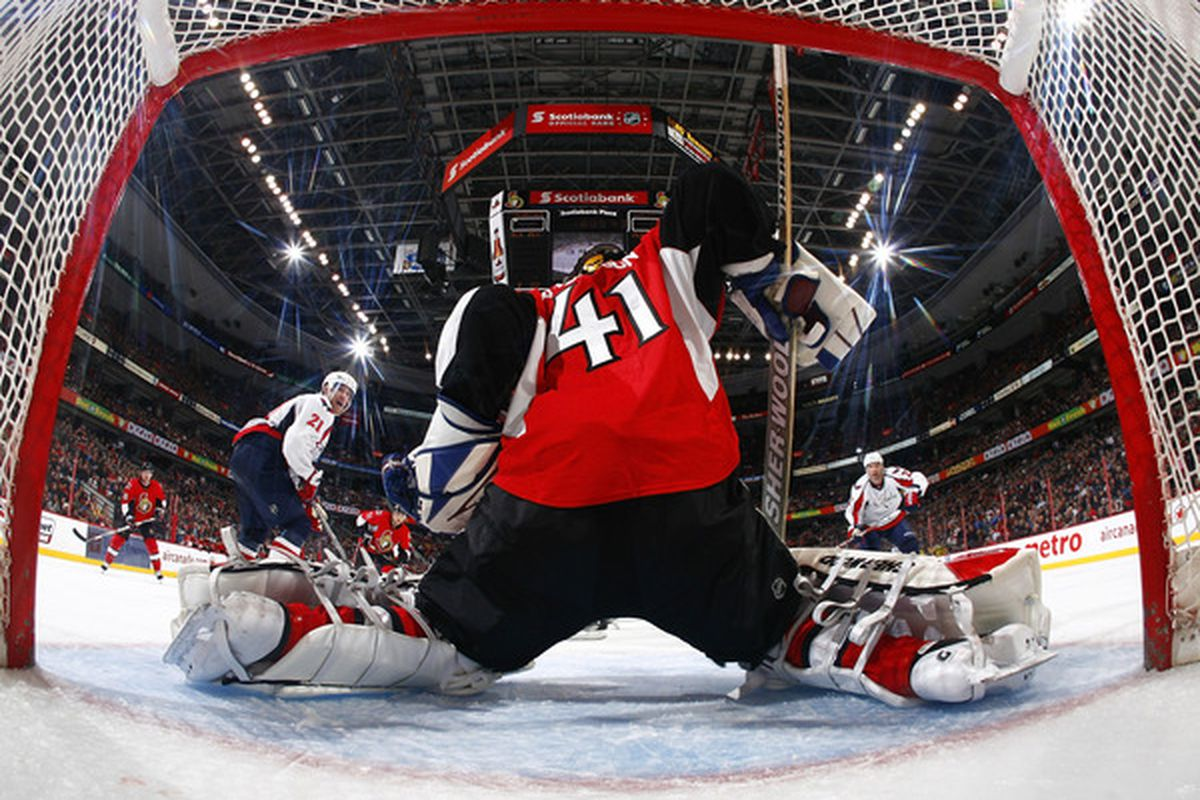 Behind Craig Anderson hasn't been a good place to look for pucks this week. (Photo by Phillip MacCallum/Getty Images)