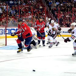 Ovechkin and Smith Turn For Puck