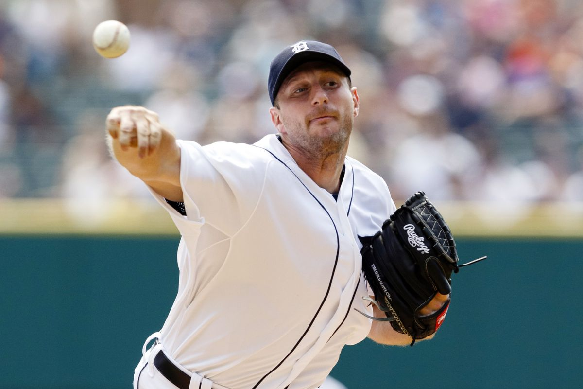 August 26, 2012; Detroit, MI, USA; Detroit Tigers starting pitcher Max Scherzer (37) pitches during the first inning against the Los Angeles Angels at Comerica Park. Mandatory Credit: Rick Osentoski-US PRESSWIRE