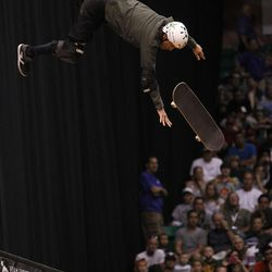 Bob Burnquist of Brazil is separated from his board in mid air in the skateboard vert final at Energy Solutions Arena for the Salt Lake City stop of the Dew Tour on Saturday, Sept. 10, 2011.
