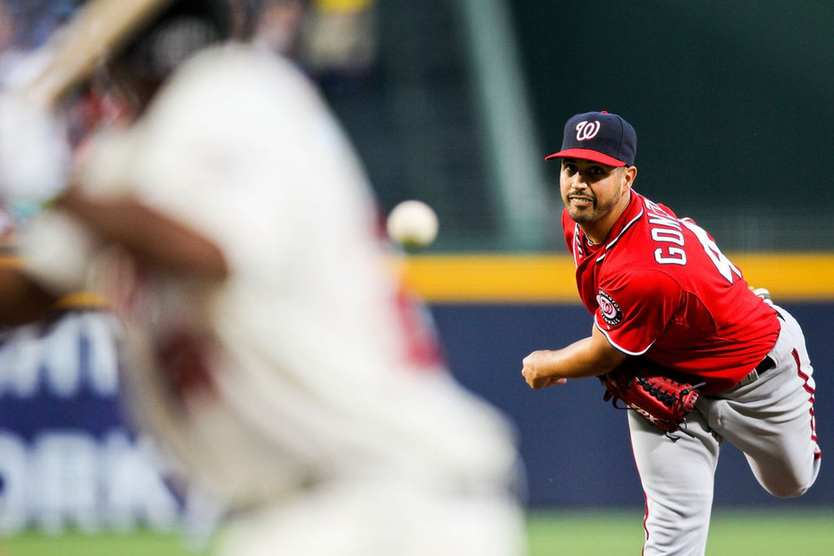 May 27, 2012; Atlanta, GA, USA; Washington Nationals starting pitcher Gio Gonzalez (47) pitches in the first inning against the Atlanta Braves at Turner Field. Mandatory Credit: Daniel Shirey-US PRESSWIRE