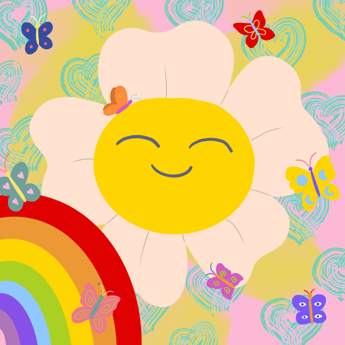 A smiley face flower surrounded by hearts, butterflies, and a rainbow.