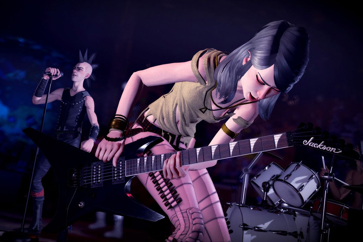a woman rocks out on a black guitar in Rock Band 4 while a man sings in the background
