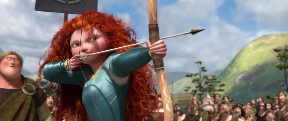 princess merida shoots an arrow for her own hand in marriage