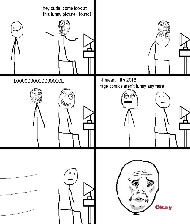 A character sitting at a computer shares a rage comic with a friend. The friend laughs, but sobers, saying rage comics aren't funny in 2018. The first character accepts their judgment gloomily.