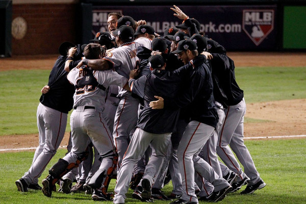 ARLINGTON TX - NOVEMBER 01:  The San Francisco Giants celebrate defeating the Texas Rangers 3-1 to win the 2010 MLB World Series at Rangers Ballpark in Arlington on November 1 2010 in Arlington Texas.  (Photo by Christian Petersen/Getty Images)