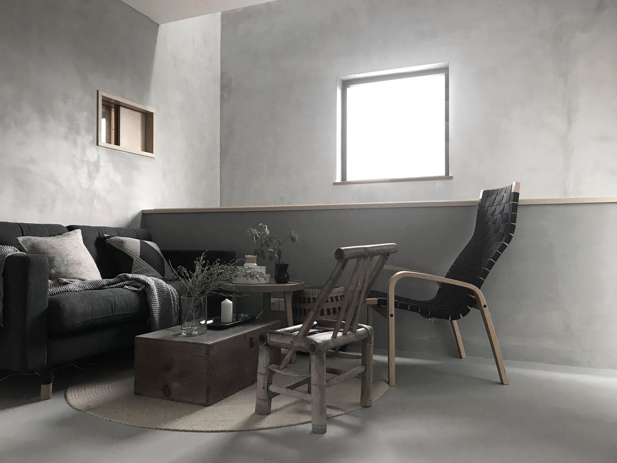 Living room with gray interior
