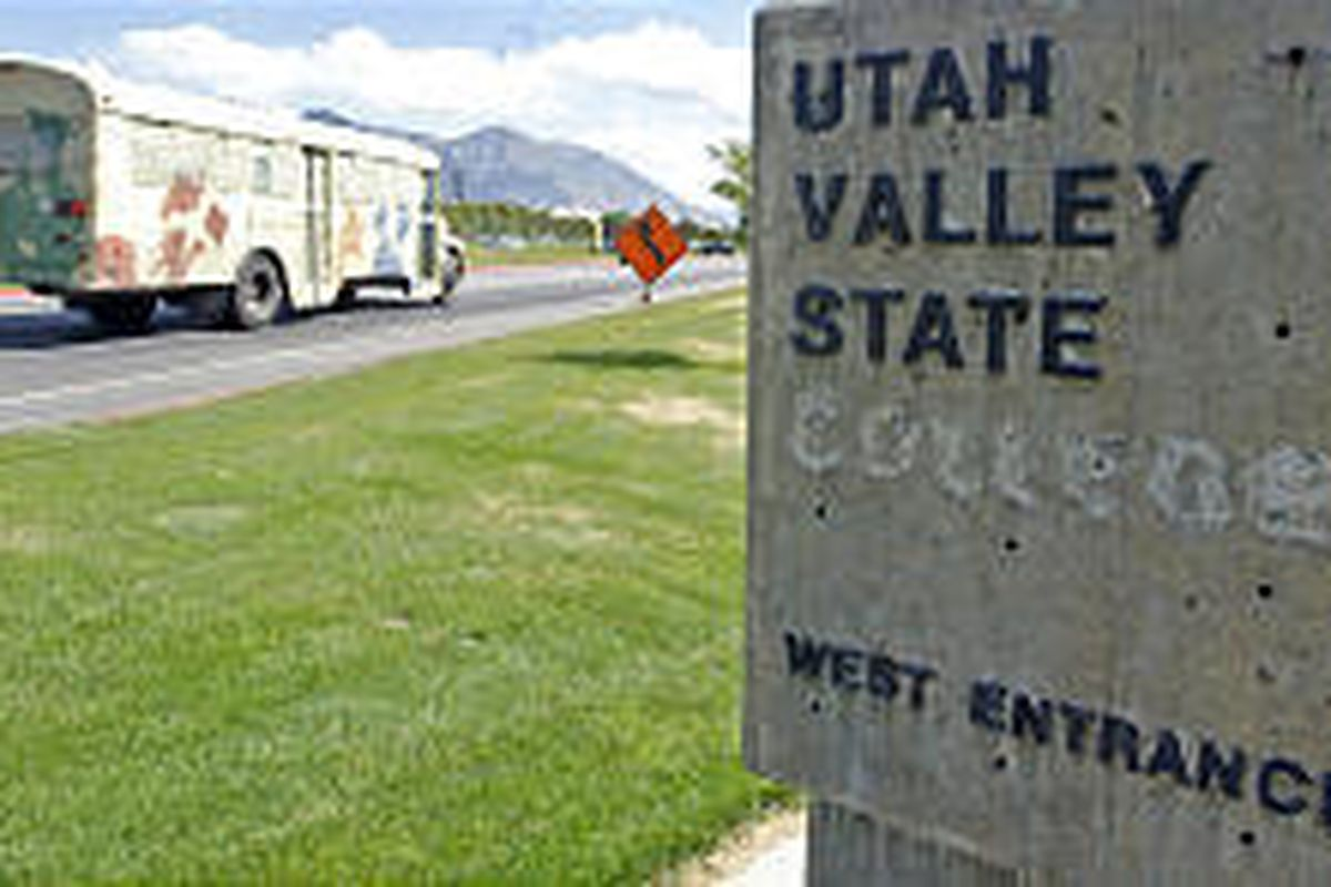 """A sign marking the west entrance to UVSC has had the word """"college"""" removed. Apparently, there are no plans to replace it."""