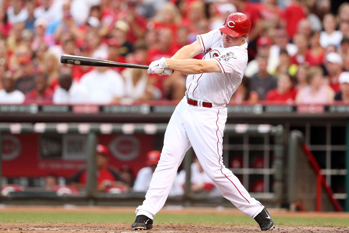 CINCINNATI, OH - AUGUST 04: Jay Bruce #32 of the Cincinnati Reds hits a single during the game against the Pittsburgh Pirates at Great American Ball Park on August 4, 2012 in Cincinnati, Ohio.  (Photo by Andy Lyons/Getty Images)