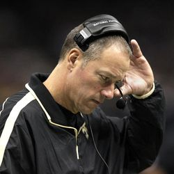 New Orleans Saints interim head coach Aaron Kromer reacts on the sidelines in the first half of an NFL football game against the Washington Redskins at Mercedes-Benz Superdome in New Orleans, Sunday, Sept. 9, 2012.