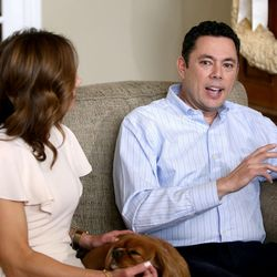 Julie Chaffetz looks at her husband, Rep. Jason Chaffetz, R-Utah, as he talks about his resignation at their home in in Alpine on Thursday, May 18, 2017. Between them is their dog, Ruby.