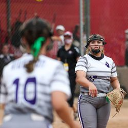 Riverton pitcher Chloe Borges throws to Kyli Carrell at first base to get Weber batter Allison Hughes out in a 6A softball playoff game in Spanish Fork on Tuesday, May 25, 2021.