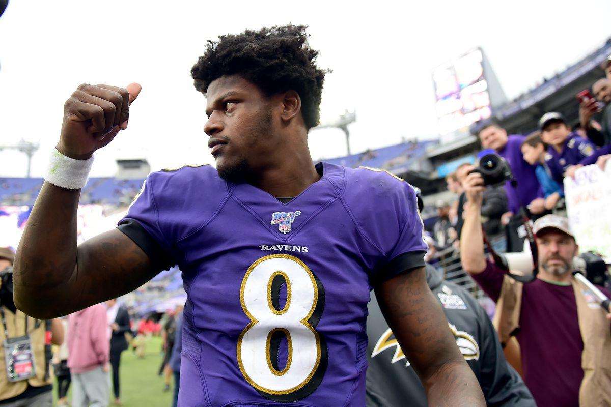 Baltimore Ravens quarterback Lamar Jackson reacts after beating the Cincinnati Bengals 23-17 at M&T Bank Stadium.