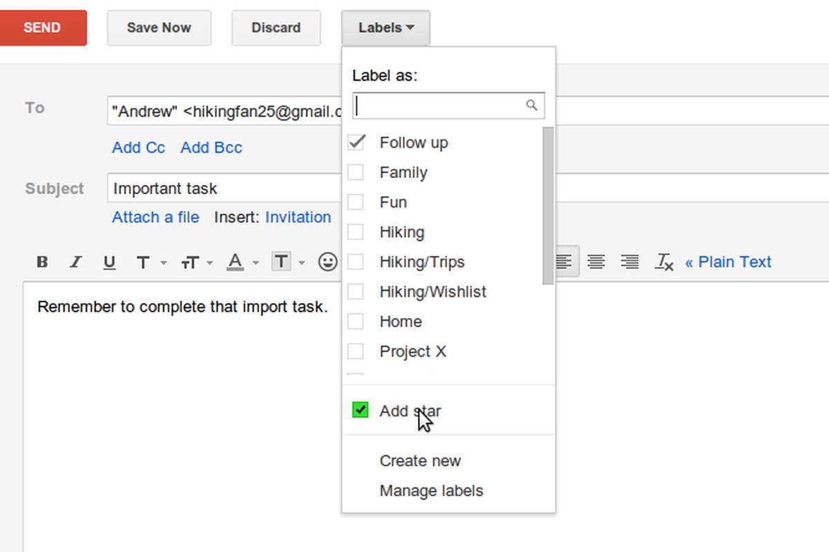 gmail star label