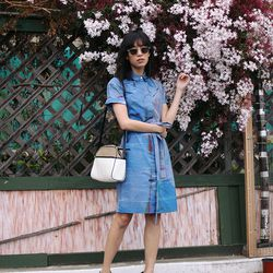 "Rachel of <a href=""http://www.thatschic.net/"">That's Chic</a> is wearing an Anthropologie dress, a <a href=""http://www.shoemint.com/shoes/camera-shoulder-bag"">ShoeMint</a> purse, Dries Van Noten heels and <a href=""http://www.lookmatic.com/women/ricky-clea"