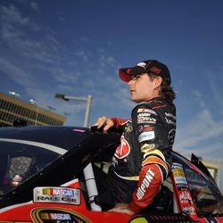 Jeff Gordon gets out of his car during qualifying for Sunday's NASCAR Sprint Cup Series auto race at Atlanta Motor Speedway, Friday, Aug. 31, 2012, in Hampton, Ga.