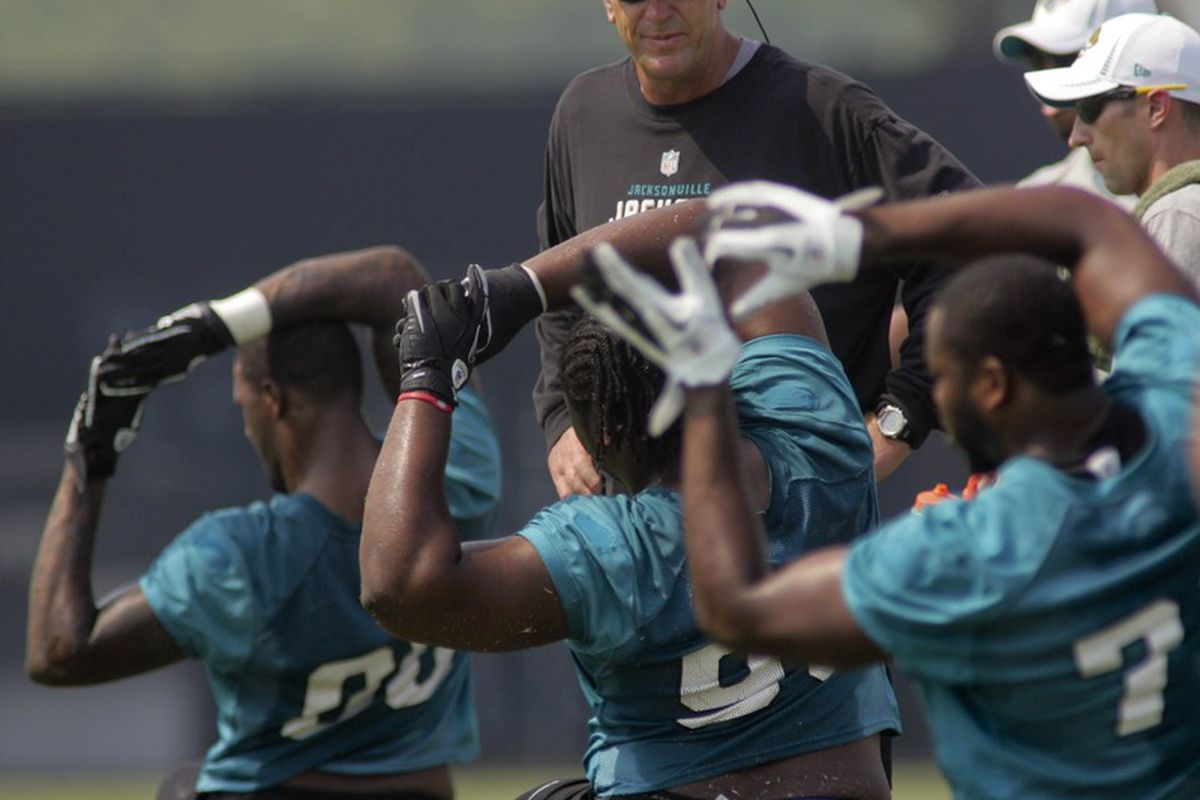 May 6, 2012; Jacksonville FL, USA; Jacksonville Jaguars head coach Mike Mularkey greets players as they stretch during rookie mini camp at Florida Blue Health & Wellness Practice Fields. Mandatory Credit: Phil Sears-US PRESSWIRE