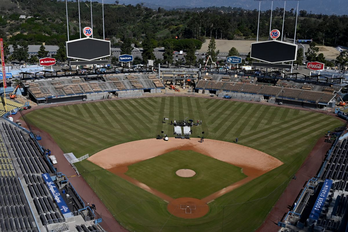 General view showing as construction crews continue work on a $100 million renovation to the outfield pavillion at Dodger Stadium shown on February 12, 2020 in Los Angeles, California. The construction began one month after the end of the 2019 season and on schedule to be finished by opening day 2020.