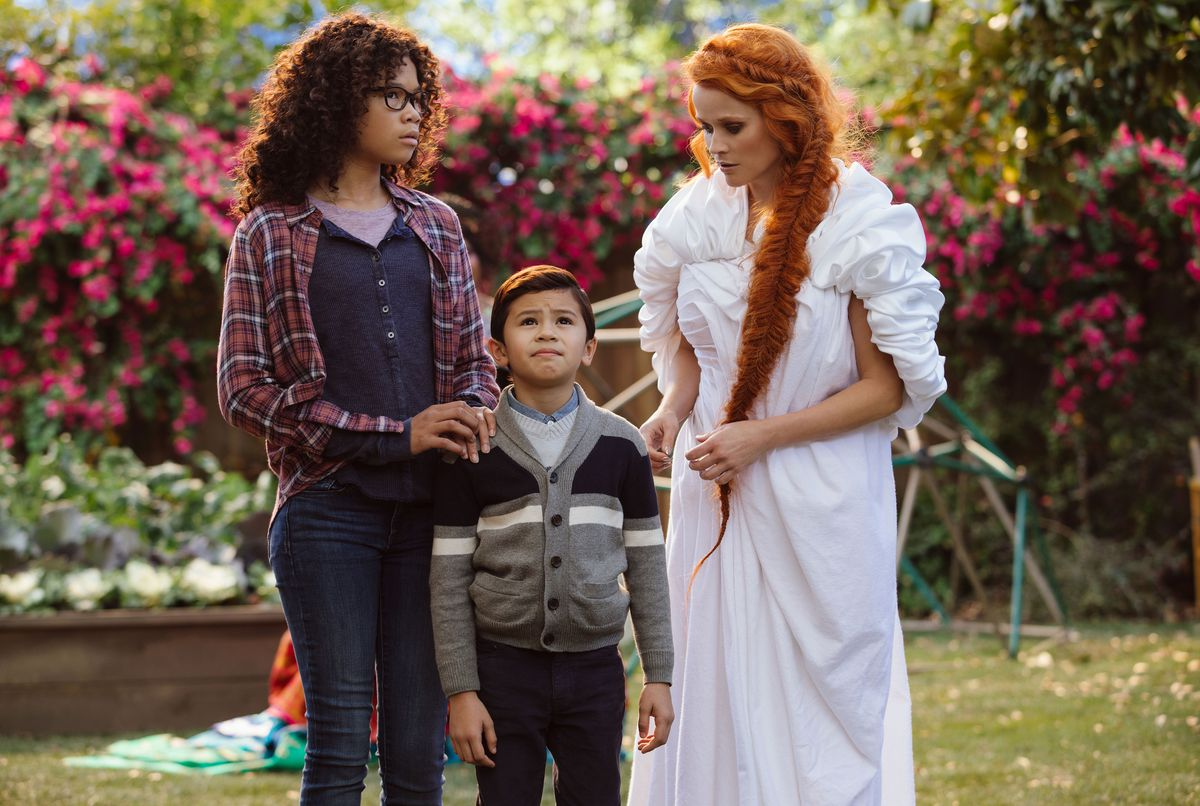 """Storm Reid (from left) is Meg Murry, Deric McCabe is Charles Wallace Murry and Reese Witherspoon is Mrs. Whatsit """"A Winkle in Time."""" 