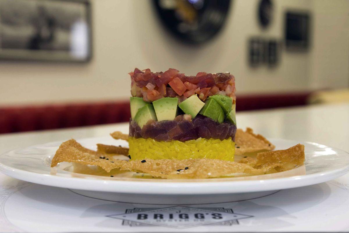 An ahi tuna stack at Brigg's Oyster Co.
