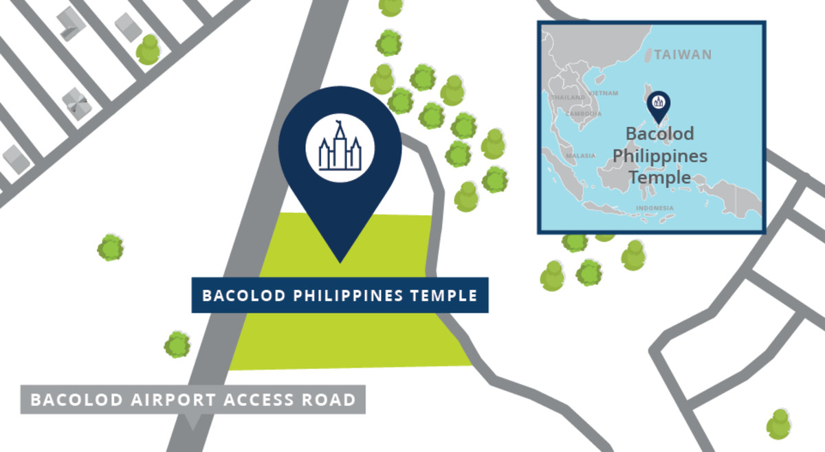 A map shows the location of the Bacolod Philippines Temple.