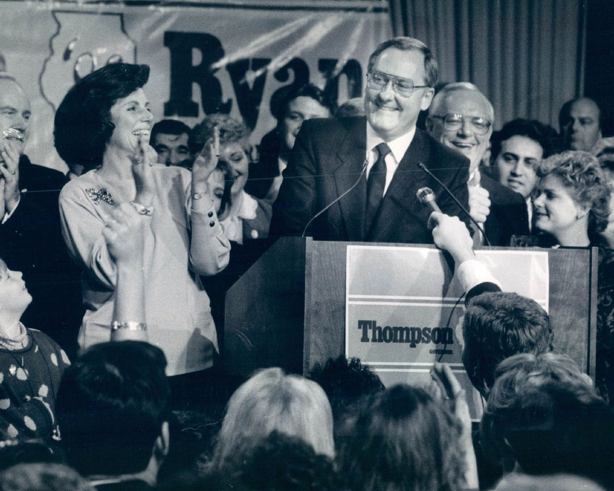 James Thompson claims victory on Election night in 1986.