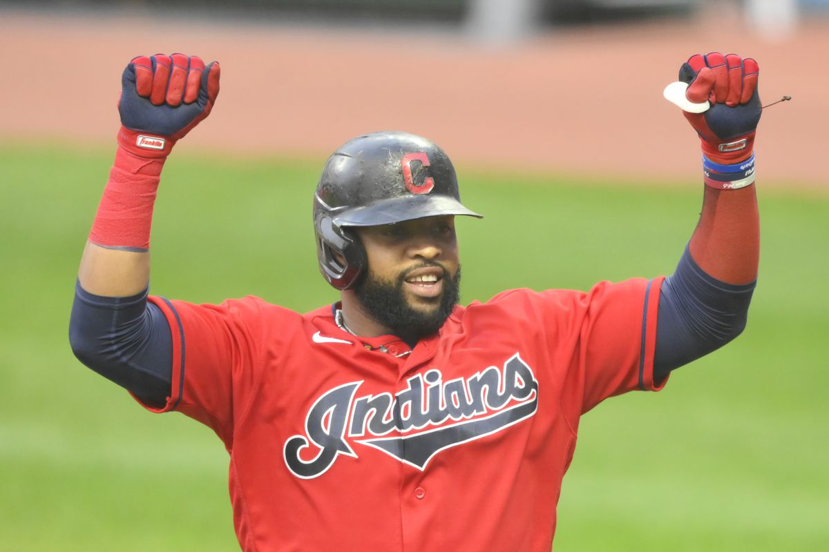 Cleveland Indians first baseman Carlos Santana (41) celebrates his solo home run in the second inning against the Chicago White Sox at Progressive Field.