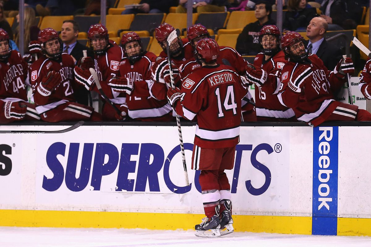 Harvard players celebrate a goal in the 2015 Beanpot Tournament.