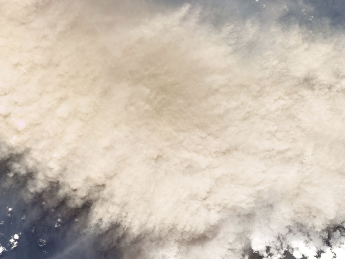 This Planet Labs Inc. satellite photo shows the moments following an eruption of La Soufriere volcano in the Caribbean island of St. Vincent, Friday, April 9, 2021.