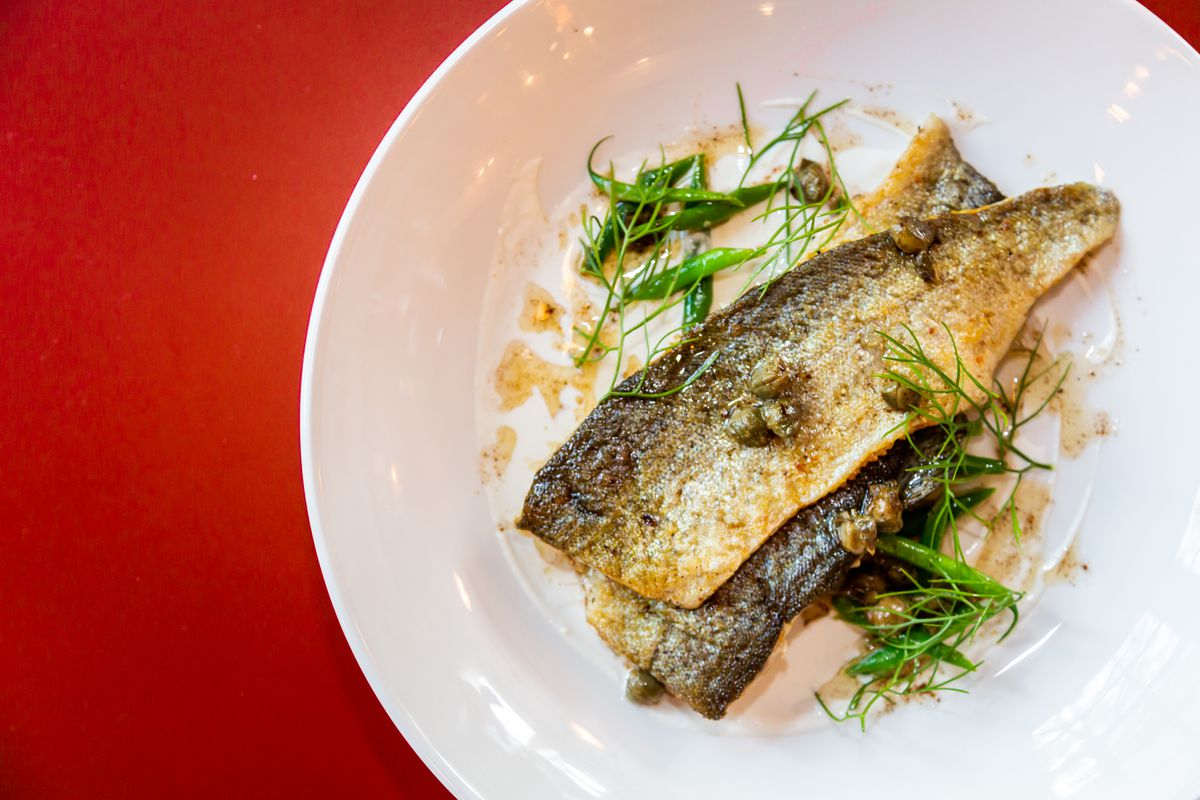 Trout almondine with Haricot vert, capers, cipollini, toasted almond, almond milk, and sourdough brown butter