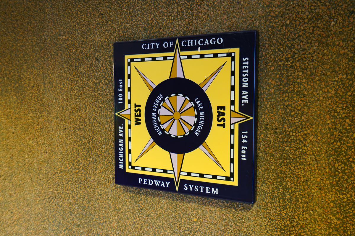 A square compass sign marked with West and East shows the direction of streets in Chicago.