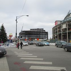 Thu 12/31: plaza building and main gate from Clark & Addison -