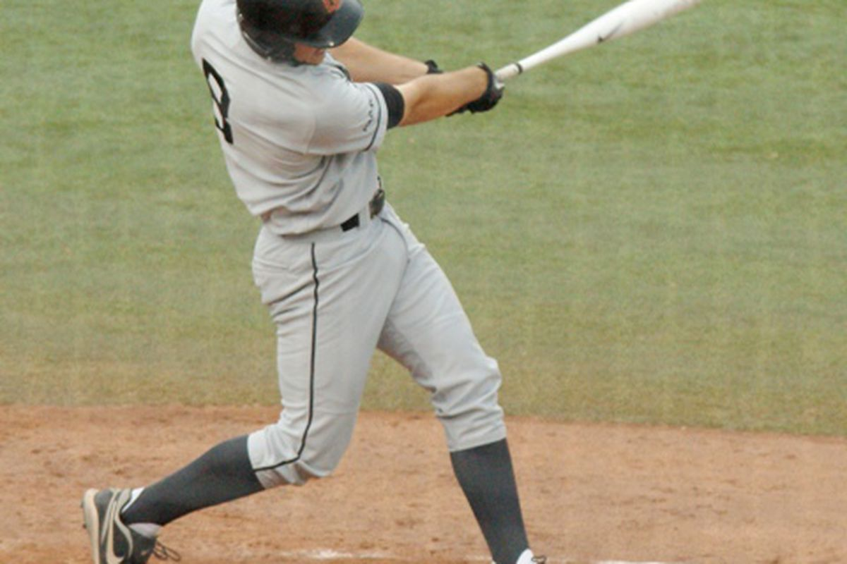 Parker Berberet ties the Georgia game at 1 with his home run above. The Beavers will need Berberet's hot bat if they want to upset Vanderbilt and clinch their fourth trip to Omaha in seven years. (Photo by Andy Wooldridge)