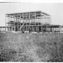 A rebar reinforced concrete frame before blocks of terra cotta were used to clad the Mesa Arizona Temple is pictured in 1924. The project broke ground in 1923 and took over four years to complete. The dedication took place October 23-27, 1927.
