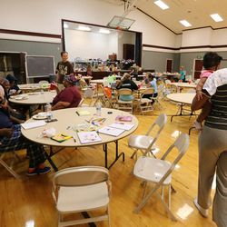 Evacuees are housed in an LDS Church stake center during Tropical Storm Harvey in Houston on Tuesday, Aug. 29, 2017.