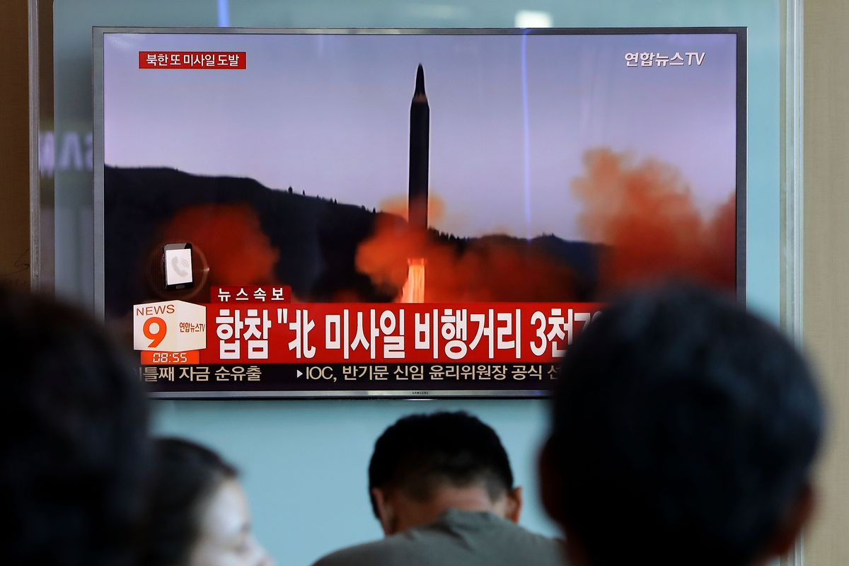 North Korea launches a missile in September 2017.