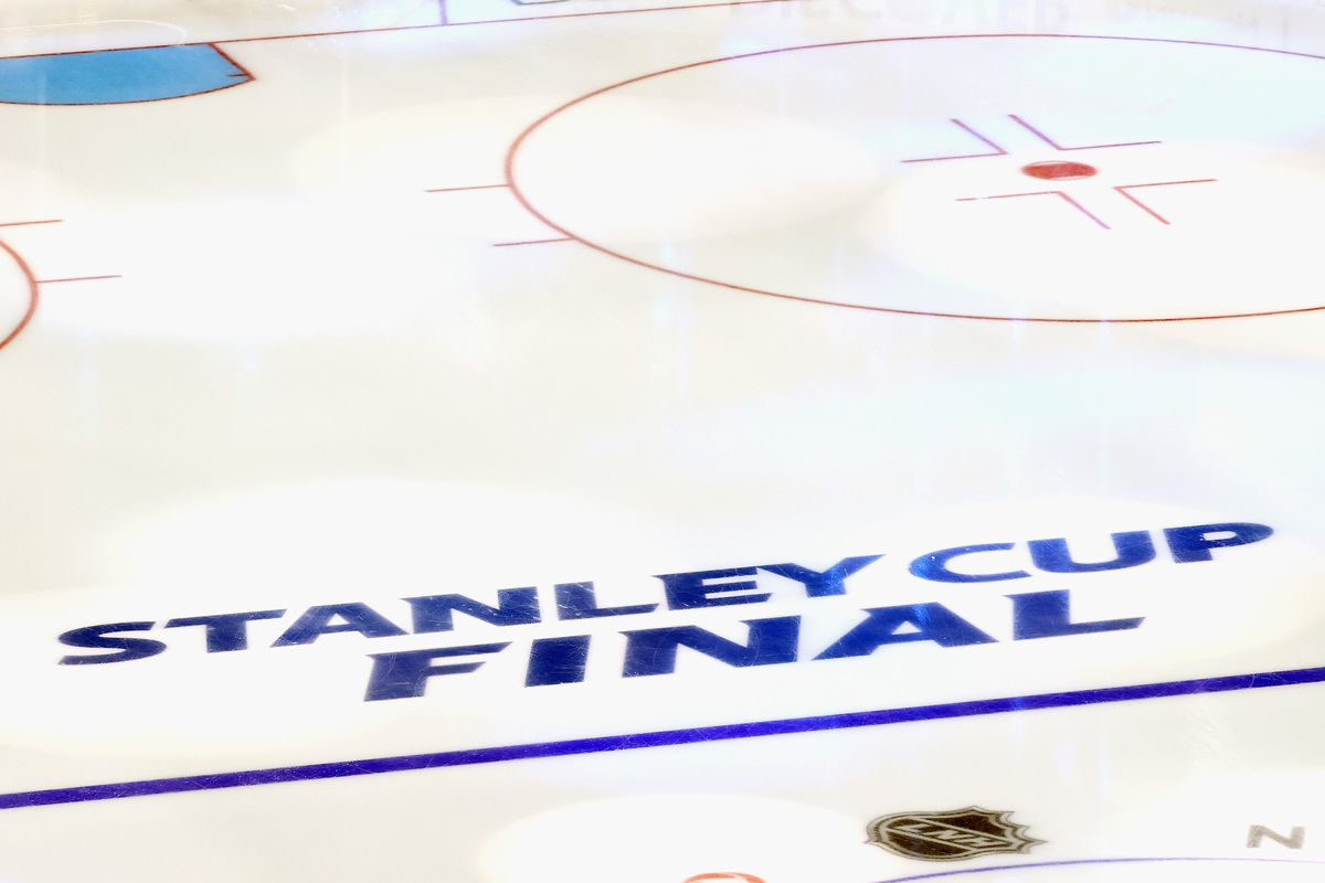 A graphic view of in-ice logos prior to the game between the Dallas Stars and the Tampa Bay Lightning in Game One of the 2020 NHL Stanley Cup Final at Rogers Place on September 19, 2020 in Edmonton, Alberta, Canada.