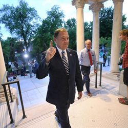 Gov. Gary R. Herbert raises a finger as the returns to the Governor's Mansion on Tuesday, June 28, 2016. Herbert defeated Jonathan Johnson in Tuesday's primary.