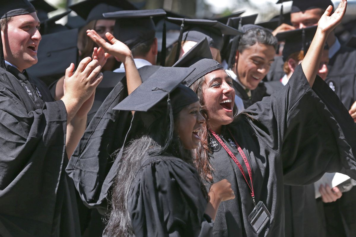 Harvard graduates celebrate at the 2013 commencement. Many disadvantaged students with strong academic abilities don't make it to college at all, let alone a highly selective college.