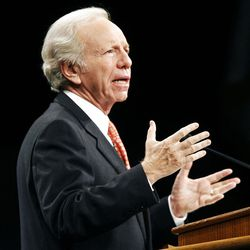 Sen. Joseph Lieberman speaks at a Brigham Young University in Provo, Tuesday, Oct. 25, 2011.