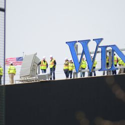 Inspection tour on top of the video board -