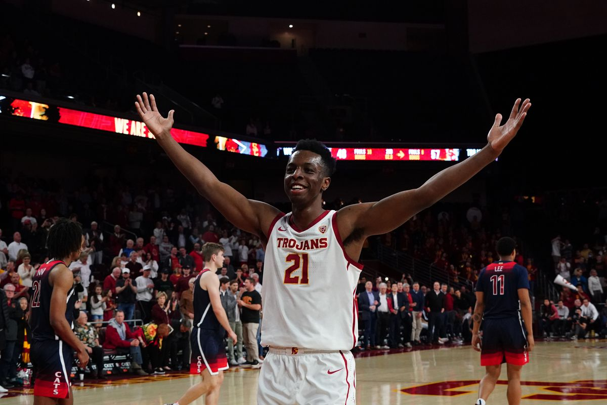 Southern California Trojans forward Onyeka Okongwu celebrates at the end of the game against the Arizona Wildcats at Galen Center. USC defeated Arizona 57-48.