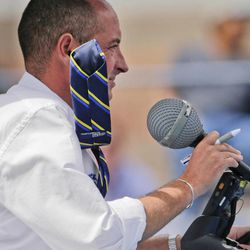 The umpire, Pascal Maria, watches over a semifinal match between Britain's Andy Murray and Czech Republic's Tomas Berdych as his tie is blown by the wind at the 2012 US Open tennis tournament,  Saturday, Sept. 8, 2012, in New York.