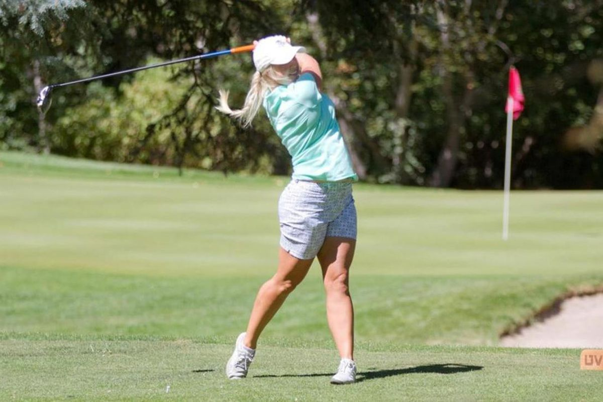 Utah Valley sophomore Carly Dehlin follows her drive at Hobble Creek Golf Course in September 2016.