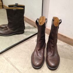 Billy Reid dark brown leather boots. Originally $495, now $198